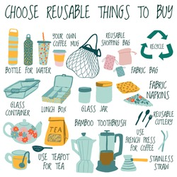 Zero Waste concept. Collection of durable and reusable items or products - eco grocery bags,glass jars, wooden toothbrush, comb, bottle, coffee mug, cloths napkins, teapot, french press, metal straw.