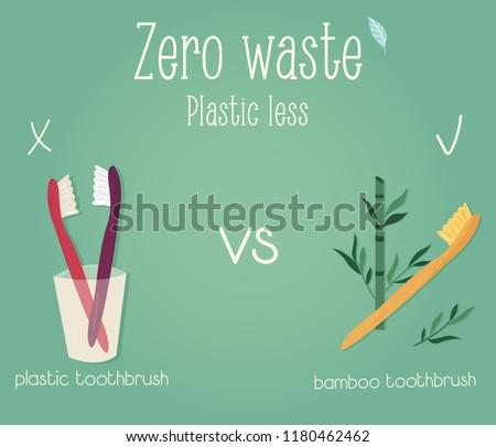 Zero waste concept poster. Plastic toothbrush vs bamboo toothbrush #1180462462