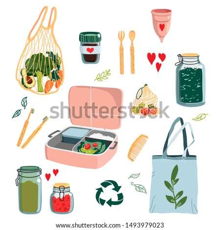 Zero waste concept set with different eco alternatives for everyday life. Hand drawn vector illustration.