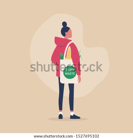 Zero waste concept, young female millennial character carrying groceries in a reusable eco friendly shopper bag