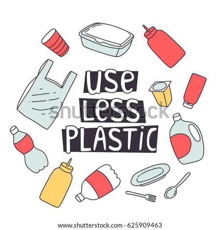 zero waste design. use less plastic concept illustration