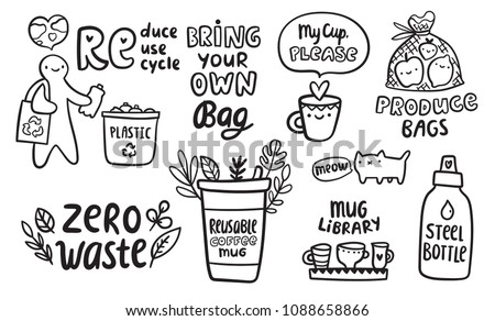 Zero waste doodle concept. Reduce Reuse Recycle illustration. Bring your own produce bags, coffee cup, steel bottle image for your ecology design. Funny cat saying
