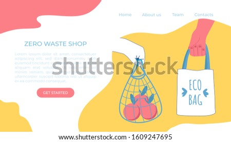 Zero waste ecology concept. Vector illustration. Household goods. Hands with eco shopper bag and string bag.