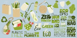 Zero waste elements and slogan collection. Eco friendly stickers and lettering. Reusable items products bundle. Sustainable living. Environmental Awareness. Vector illustration in flat cartoons design