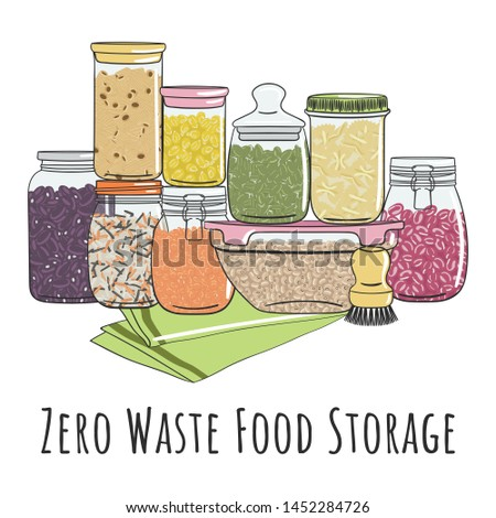 Zero waste food storage in glass jars for bulk products without packaging. Set of seeds, legumes, nuts, grains elements. Zero waste pantry. No plastic. Hand drawn vector illustration.