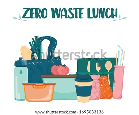 Zero waste lunch set. Dish, cup and cultery for people who care about ecology. Lunch box, bamboo cultery and reusable cup and straw. Isolated vector illustration