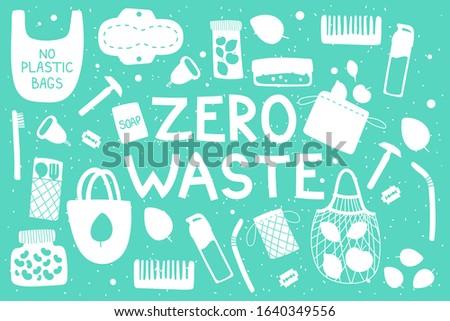 zero waste recycle hand drawn