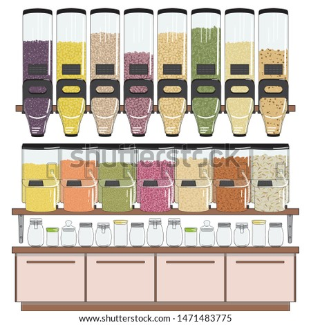 Zero waste shop. Bulk groceries store. Dispenser for bulk products without packaging. Set of seeds, beans, nuts, grains elements. No plastic. Hand drawn vector illustration isolated on white.