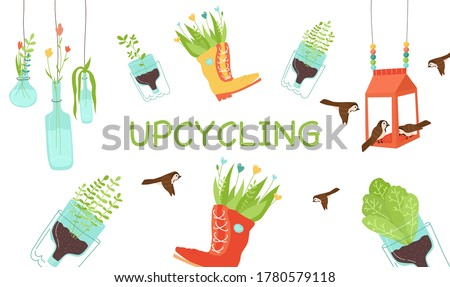 Zero waste, upcycling craft ideas, reuse of utilized. Green plants in pots from plastic bottles and boots, glass vase with flowers, carton bird feeder from milk or juice package. Vector illustration Foto stock ©
