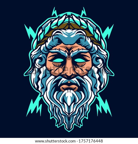 zeus head vector illustration