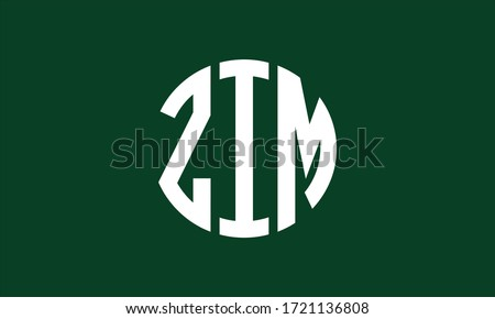ZIM Circle Emblem Abstract Monogram Letter Mark Vector Logo Template Zdjęcia stock ©