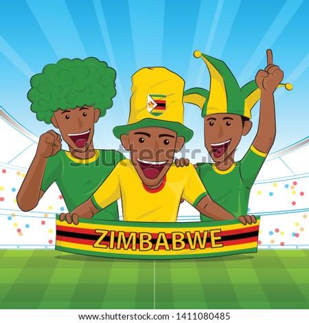 Zimbabwe Flag. Cheer football sport fans .soccer support Vector illustration.
