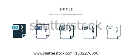 zip file icon in different style vector illustration. two colored and black zip file vector icons designed in filled, outline, line and stroke style can be used for web, mobile, ui