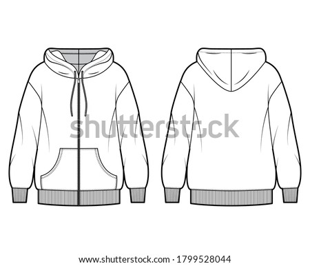 Zip-up oversized cotton-fleece hoodie technical fashion illustration with pocket, relaxed fit, long sleeves. Flat jumper apparel template front, back white color. Women, men, unisex sweatshirt top CAD Foto stock ©