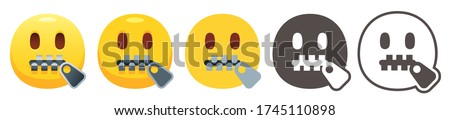Zipper-mouth emoji. Yellow face with open eyes and closed metal zipper for mouth. Shut up or secret emoticon flat vector icon set Stock photo ©