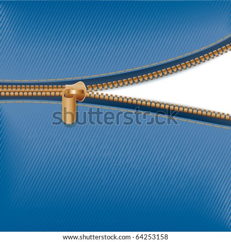 Zipper with blue fabric
