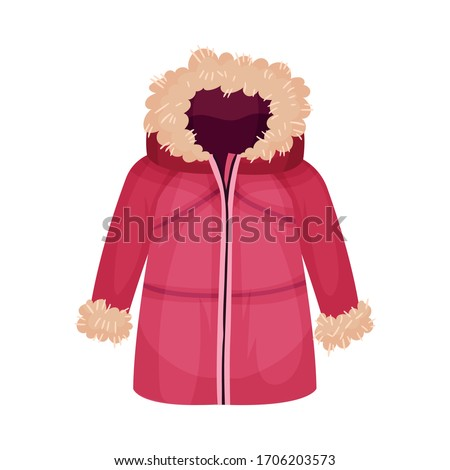 Zippered Parka or Coat with Furry Hood as Womenswear Vector Illustration Сток-фото ©