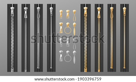 Zippers set. Realistic isolated silver and golden slide fastener elements on transparent background. Open and closed pullers for clothing and buckle. 3d vector illustration Сток-фото ©