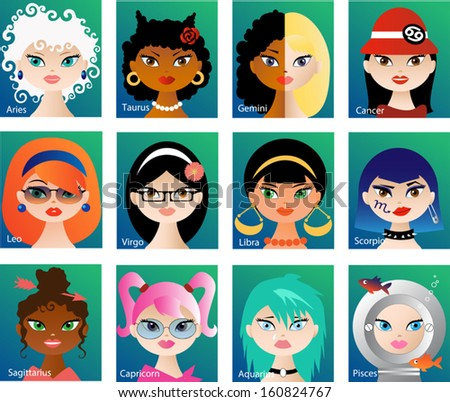 Zodiac astrological signs vector set for horoscope with cute girls faces