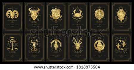 Zodiac astrology horoscope cards linocut silhouettes design vector illustrations set. Elegant symbols and icons of esoteric horoscope templates for wall print poster isolated on black background Stock photo ©