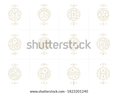 Zodiac astrology horoscope glyphs linear design vector illustrations set. Elegant line art symbols and icons of esoteric zodiacal horoscope templates for card or poster isolated on white background.