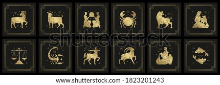 Zodiac astrology horoscope signs linocut silhouettes design vector illustrations set. Elegant symbols and icons of esoteric zodiacal horoscope templates for logo or poster isolated on black background Stock photo ©