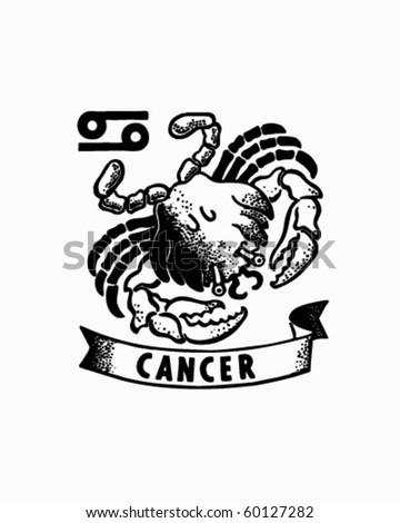 Zodiac - Cancer - Retro Clip Art