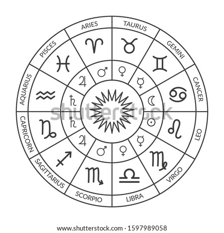 Zodiac circle, natal chart. Horoscope with zodiac signs and planets rulers. Black and white vector illustration of a horoscope. Horoscope wheel chart Stock photo ©