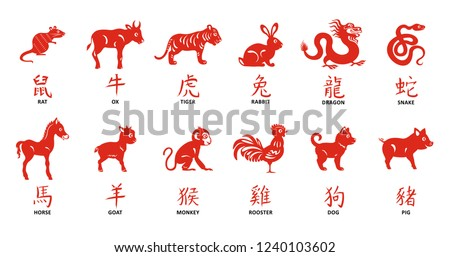 Zodiac collection. Chinese new year symbol. Hieroglyphs calligraphy. Named animals.