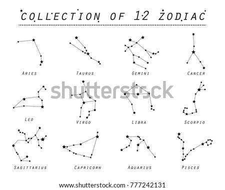 Zodiac collection of 12 zodiac signs on white background. Vector illustration eps 10.