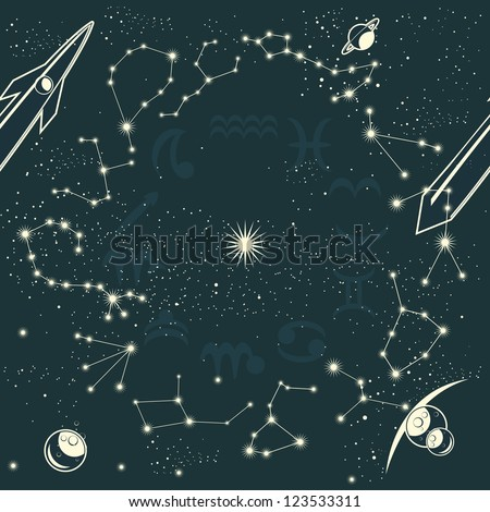 zodiac constellations and space seamless pattern