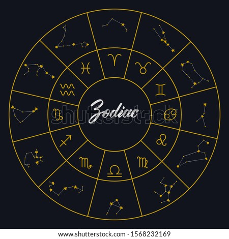 Zodiac constellations and zodiac signs in a circle diagram. Vector set with astrology symbols.