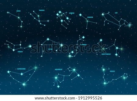 Zodiac constellations. Vector space and stars illustration. 12 zodiac constellations on dark night sky background with stars, astrology, astronomy spiritual vector design elements