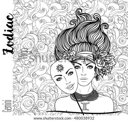 Royalty free zodiac illustration of gemini zodiac for Gemini coloring pages