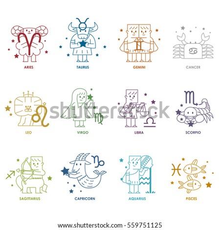 Zodiac icon set - Vector illustration