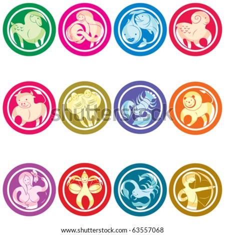 Zodiac icons set, isolated object against white background