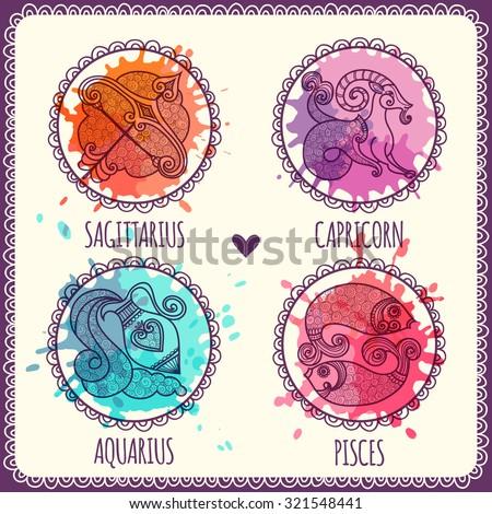 zodiac icons set sagittarius