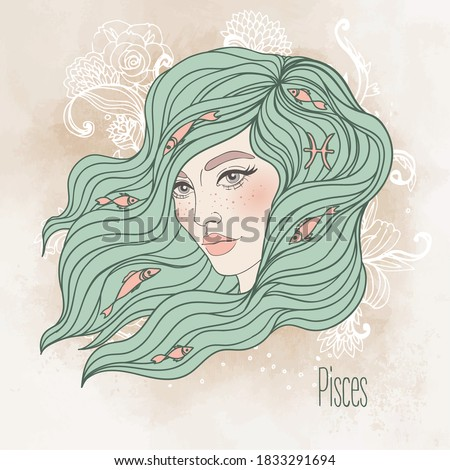 Zodiac: Illustration of Pisces zodiac sign as a beautiful girl. Vector zodiac.  Vintage boho style fashion illustration in pastel shades. Design for zodiac coloring book page for adults and kids.
