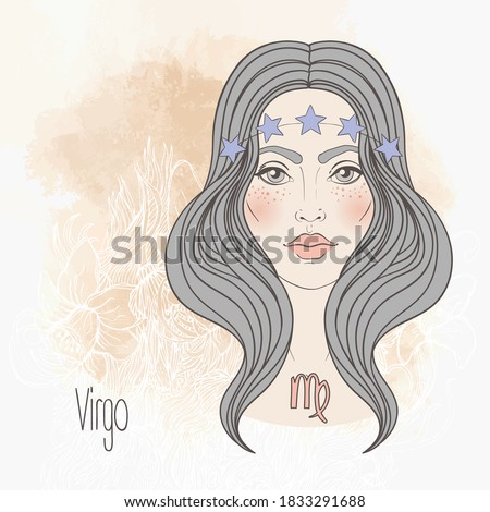 Zodiac: illustration of Virgo zodiac sign as a beautiful girl. Vector art.  Vintage zodiac boho style fashion illustration in pastel shades. Design for zodiac coloring book page for adults.