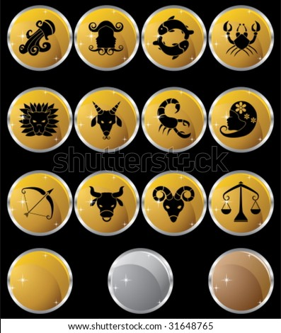 Zodiac Metal Icon Set