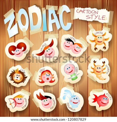 Zodiac on wooden background, vector illustration in cartoon style