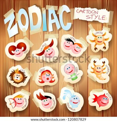 Zodiac on wooden background, vector illustration in cartoon style