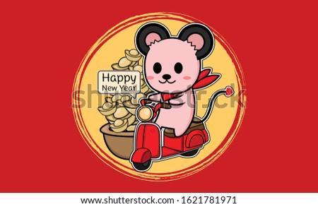 zodiac rat riding a motorcycle