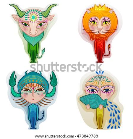 zodiac set of taurus leo