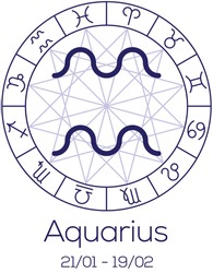 Zodiac sign - Aquarius. Astrological chart with symbols in wheel with polygonal background. Deep blue color with caption and dates. Vector illustration.