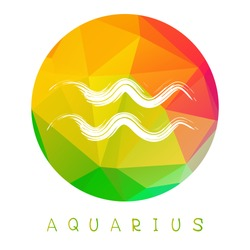 Zodiac sign Aquarius isolated on bright polygonal background. Design element for badges and stickers.