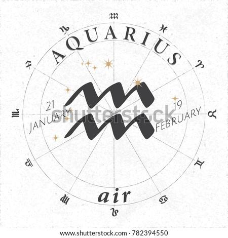 zodiac sign aquarius logo and