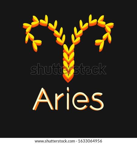 zodiac sign aries  hand drawn