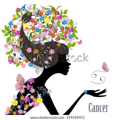 Zodiac sign cancer. fashion girl