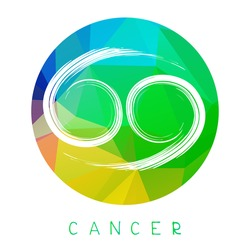 Zodiac sign Cancer isolated on bright polygonal background. Design element for badges and stickers.